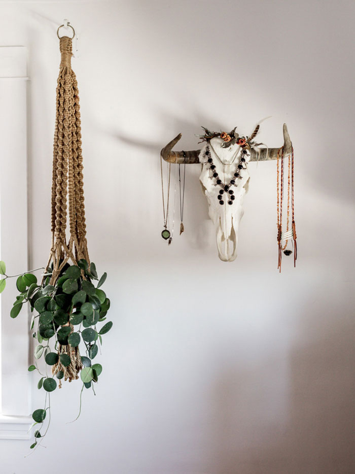 A Skull Found In The New Mexico Desert Holds Jewelry In Sarah's Bedroom On Design*Sponge