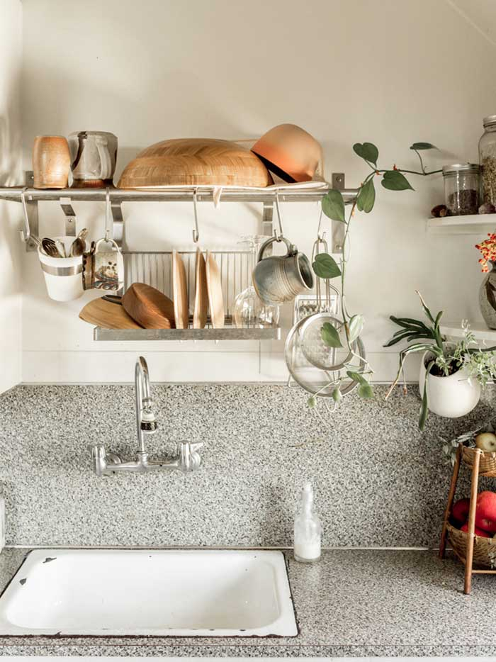 A Hanging Drying Rack Drips Into The Sink In Sarah's Portland Apartment On Design*Sponge