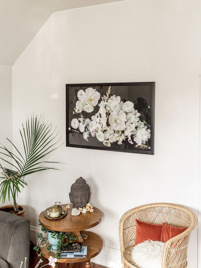 Sarah's Blasai's Living Room Features One Of Her SELVA Floral Design Prints On Her Home Tour On Design*Sponge