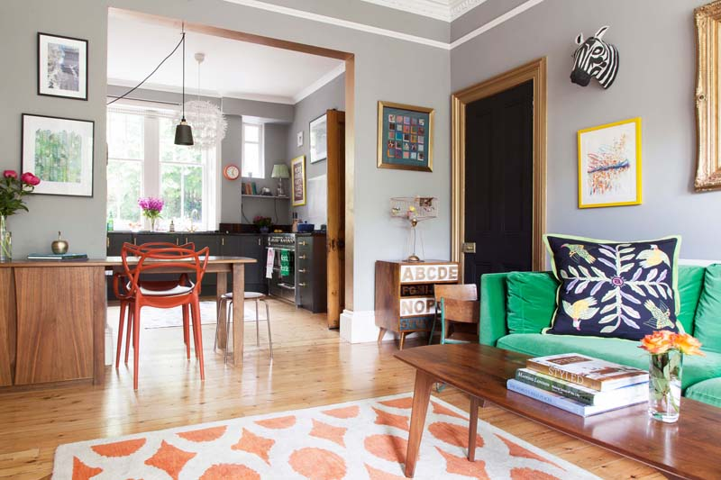 A Peek Into The Open-Plan Kitchen From The Living Room Of This Edinburgh Home On Design*Sponge
