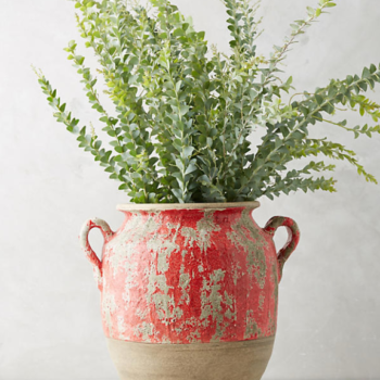 The pop of red on this aged terra cotta vessel brings a well-worn feel to it. Fill it with branches of budding leaves. Available at Anthropologie $118