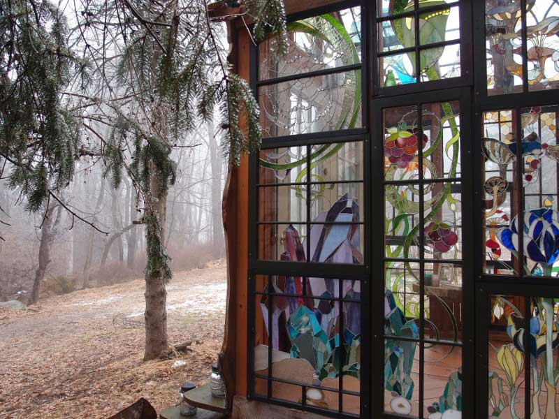 Neile Cooper's Stained Glass Cabin In The Fog On Design*Sponge