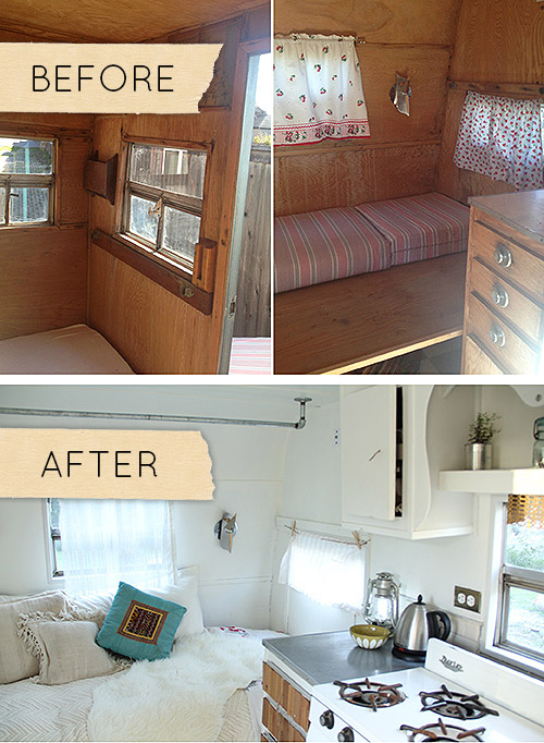 Eliminating Dark Wood Paneling Makes A Small Trailer Feel Bigger On Design*Sponge