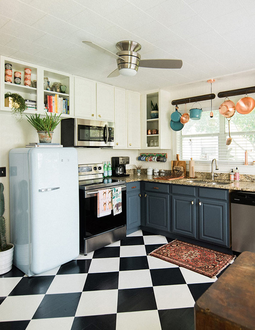 kitchens with black and white floors check mate our favorite checkered floors design sponge 9632