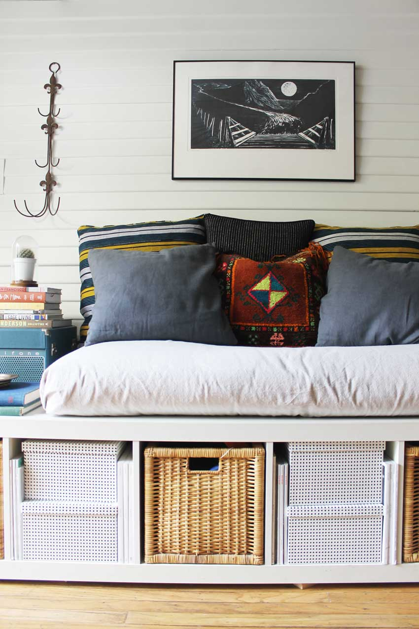 Ikea Shelves Create A Small Space Couch Alternative On Design*Sponge