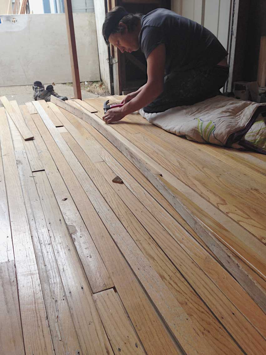 Installing Reclaimed Flooring Into The Garage On Design*Sponge