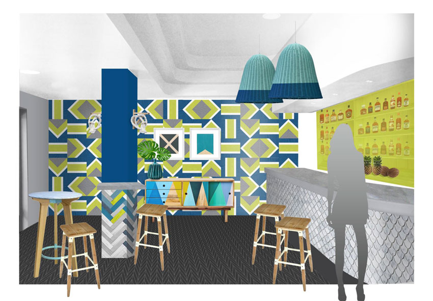 Tim Neve's Original Design Concepts Of The Bar Lounge In The Beach Hotel On Design*Sponge