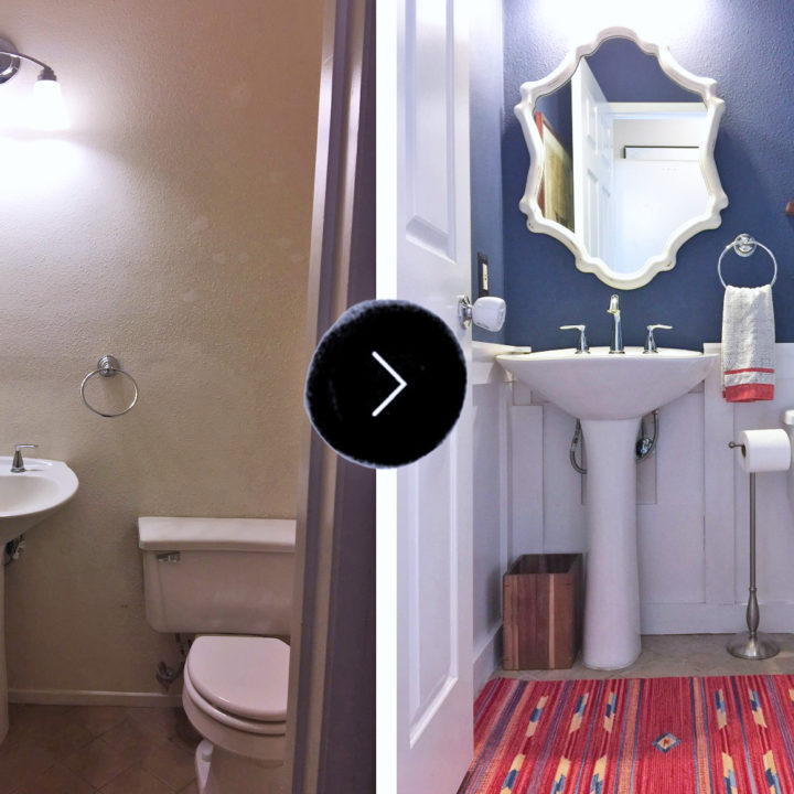 Before & After: Kelli's Powder Room Gets a Deep Blue Facelift