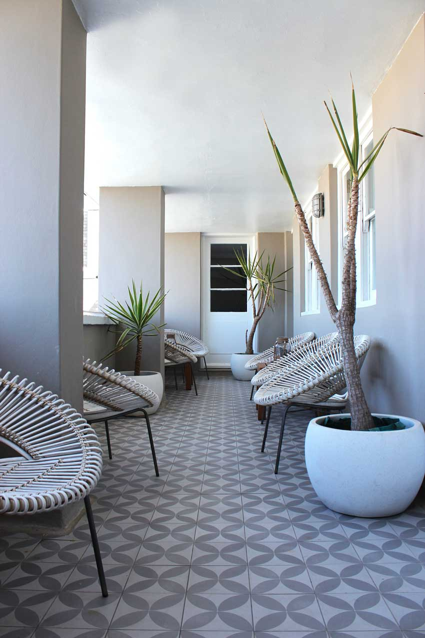 The Beach Hotel Balcony Features Beautiful Tile On Design*Sponge