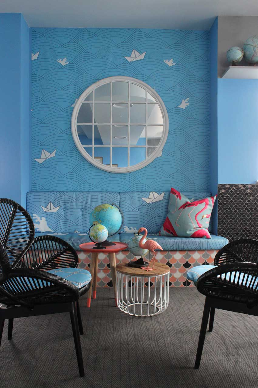 Playful Wallpaper And Classic Chairs In The Beach Hotel Tour On Design*Sponge