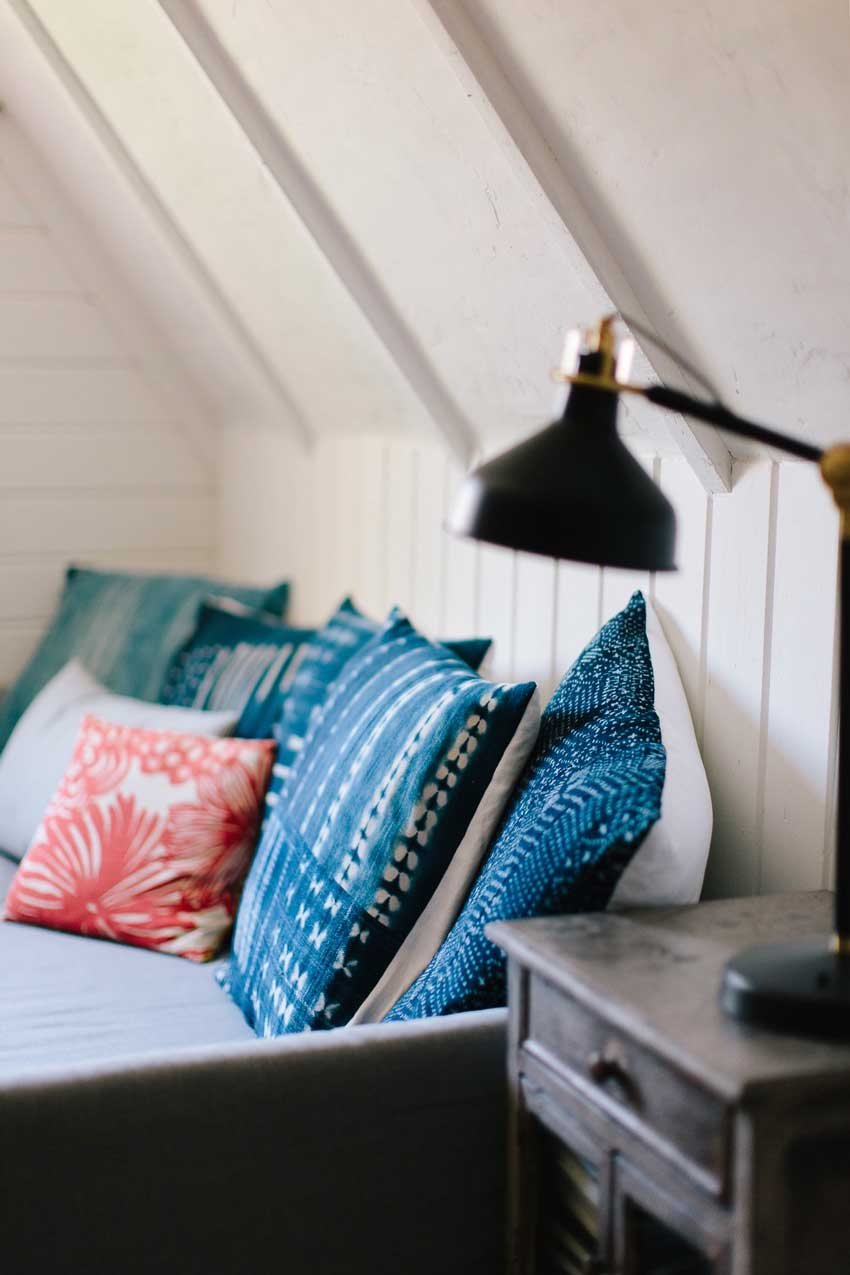 The Couch Features Some Of The Pillowcases Diana Makes In This Oakland Home Tour On Design*Sponge