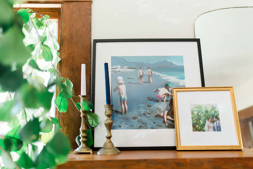 The Fireplace Mantel Features Special Tokens From The Couple's Lives On Design*Sponge