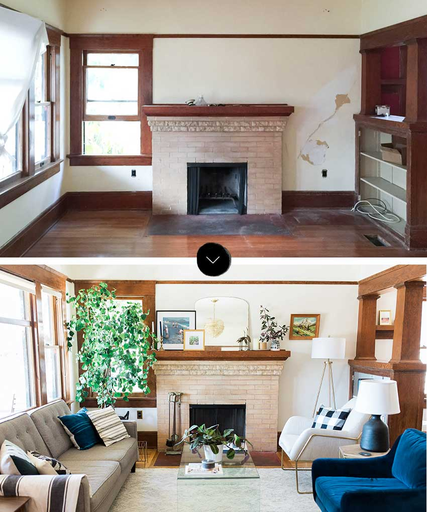 Ashley And Ross' Before And After Living Room On Design*Sponge