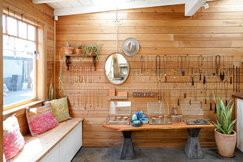 A Redwood Wall Proves To Be A Good Neutral For The Shop On Design*Sponge