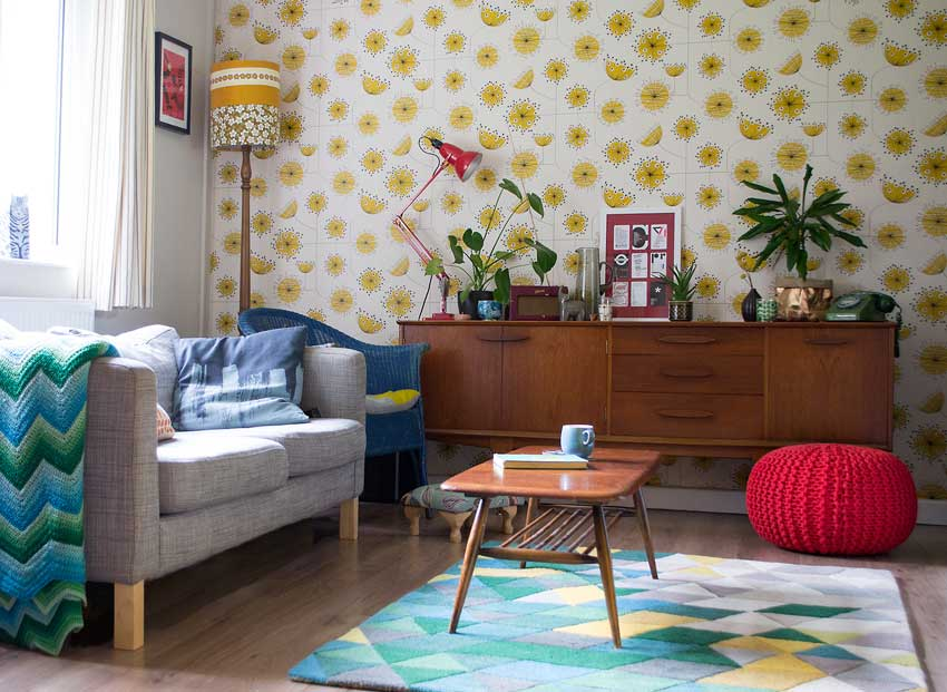 A Colorful Living Room With Mid Century Details On Design*Sponge