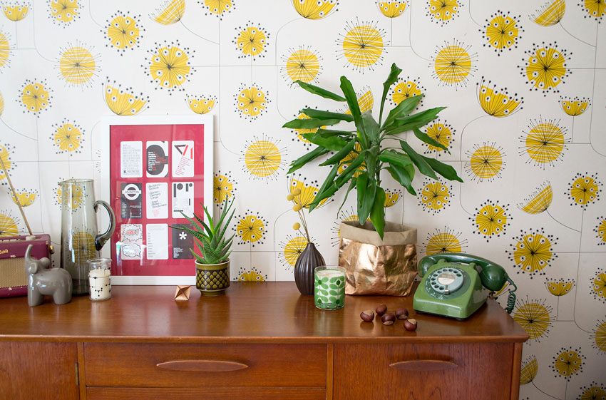 Living Room Details Feature Colorful Wallpaper As The Backdrop On Design*Sponge