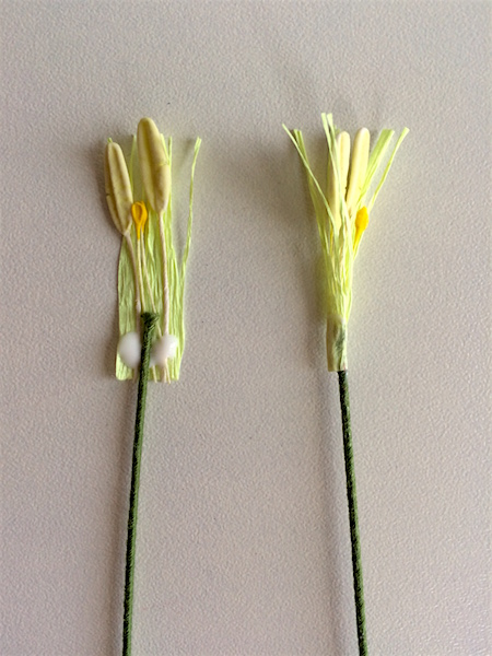 attaching fringe and stamens to wire