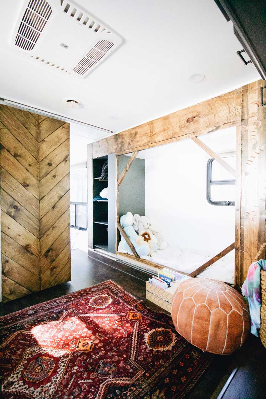 The Nursery Reading Nook Is A Special Feature Of The Toy Trailer Turned Tiny House Tour On Design*Sponge