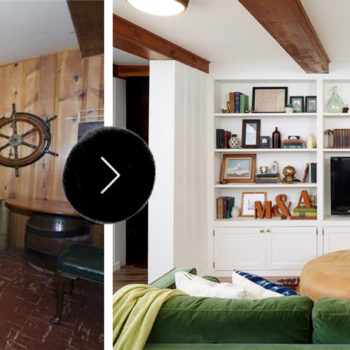 Before & After: A Dated Basement Family Room Gets a Bright White Remodel