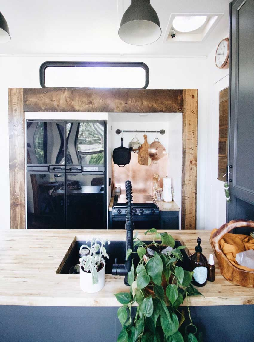 Kitchen Of A Converted Toy Hauler Tour On Design*Sponge