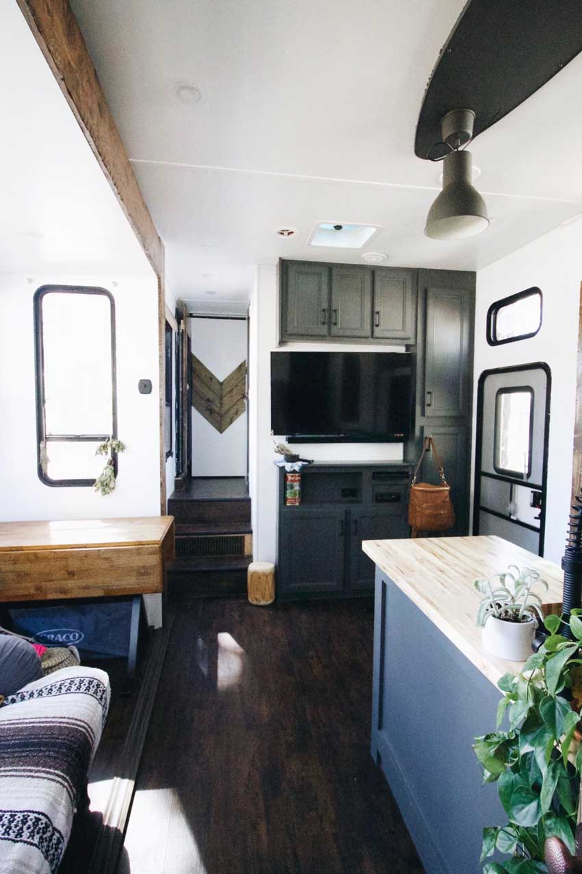 The Television Viewing Area Of The Toy Trailer Tiny Home Tour On Design*Sponge