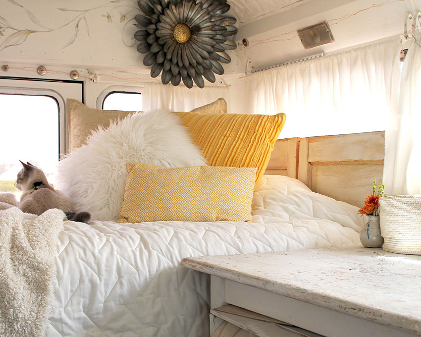 Bedroom In The Converted School Bus Of Jennifer Lorton On Design*Sponge