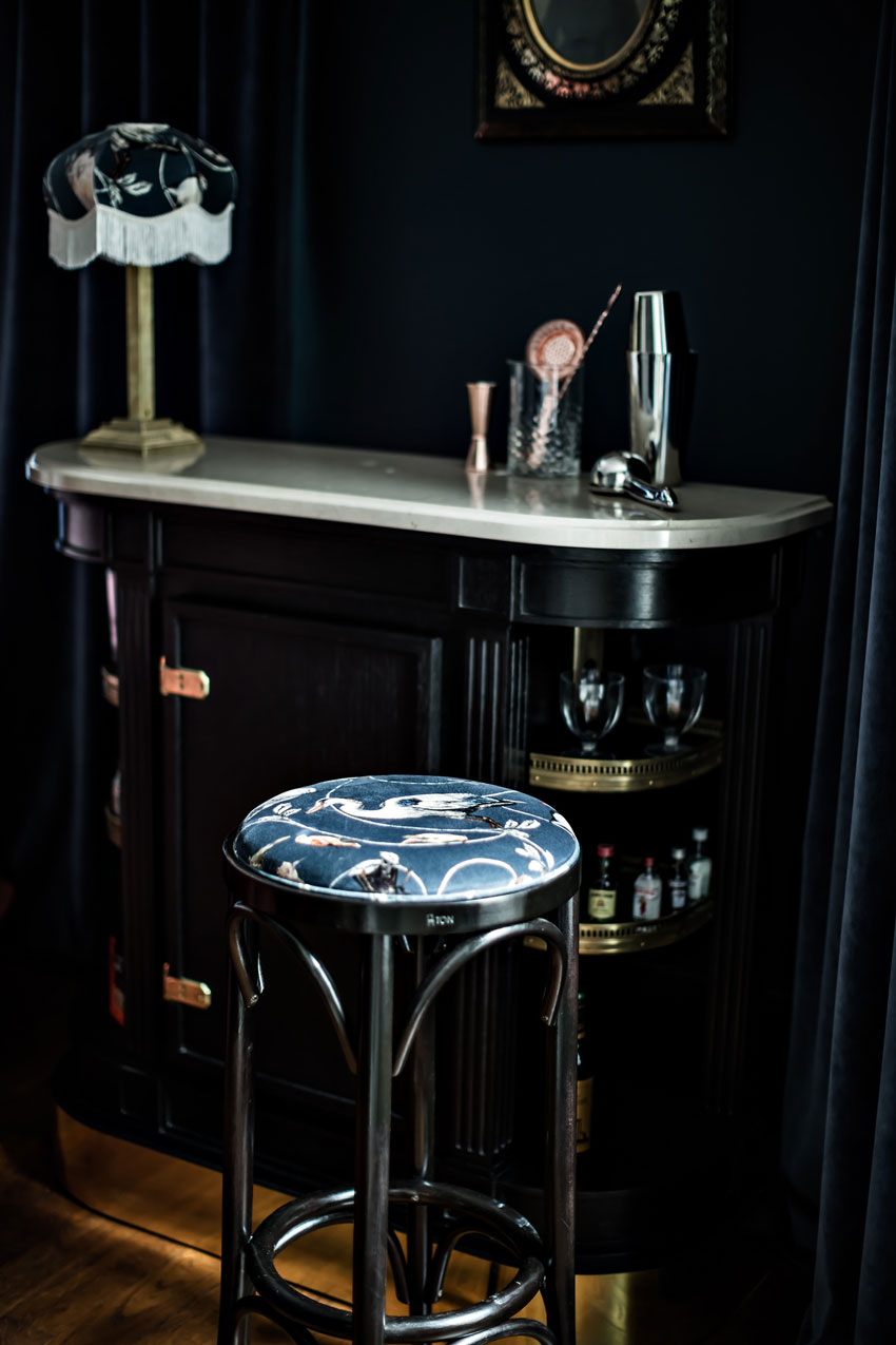 A Classic Stool Coordinates With One Of The In-Room Bars Tour On Design*Sponge