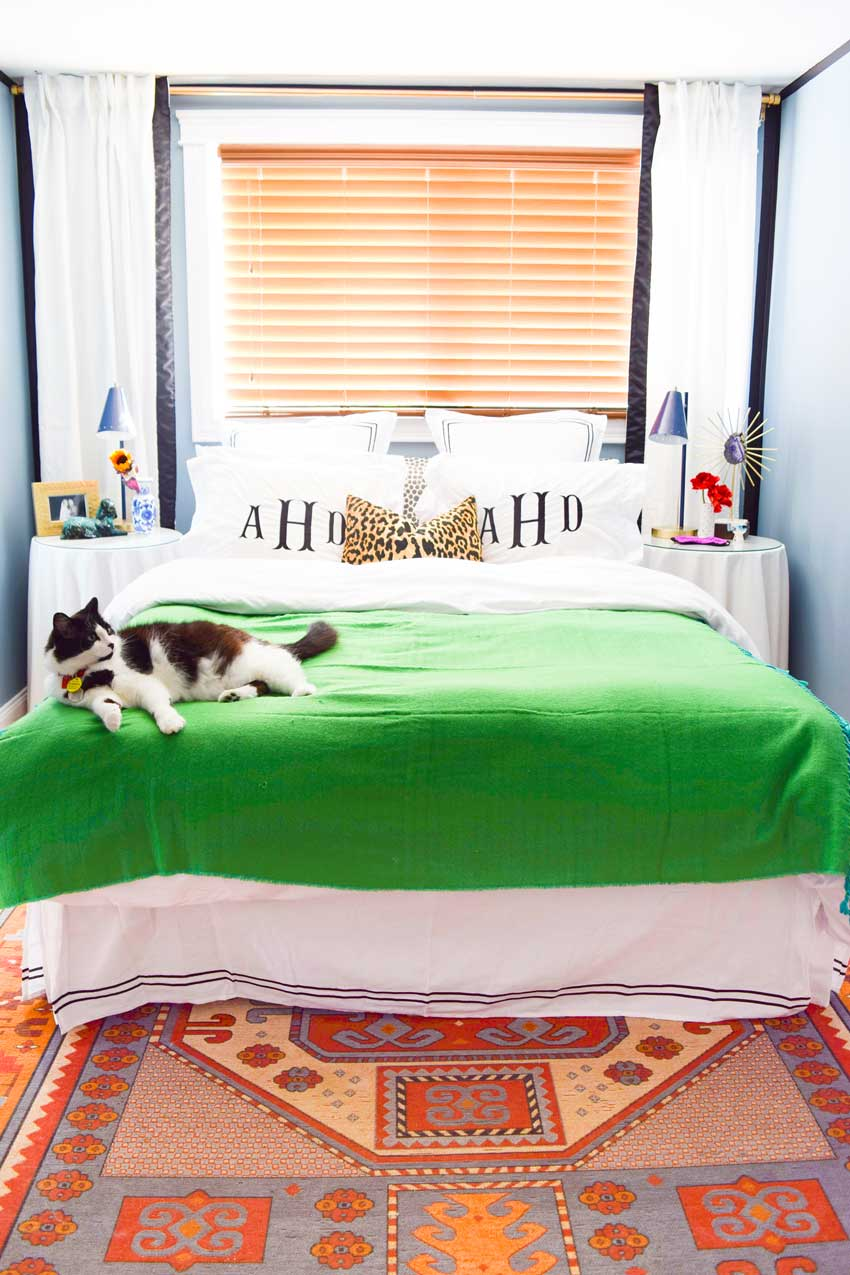 A Shock Of Kelly Green Brightens The Master Bedroom Bed On Design*Sponge