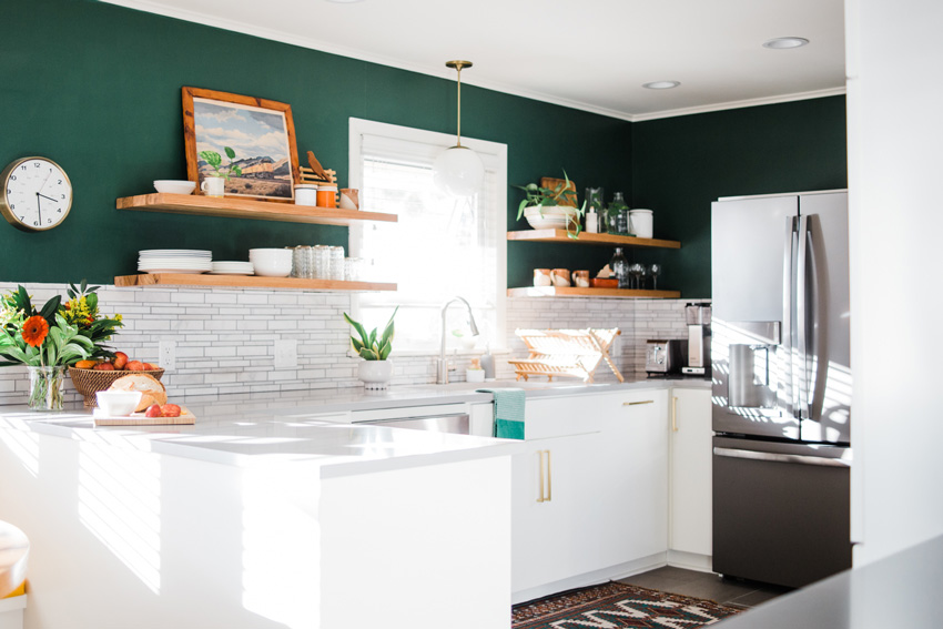 The New Kitchen Features A Bold Green That The Homeowners Can't Get Enough Of Tour On Design*Sponge