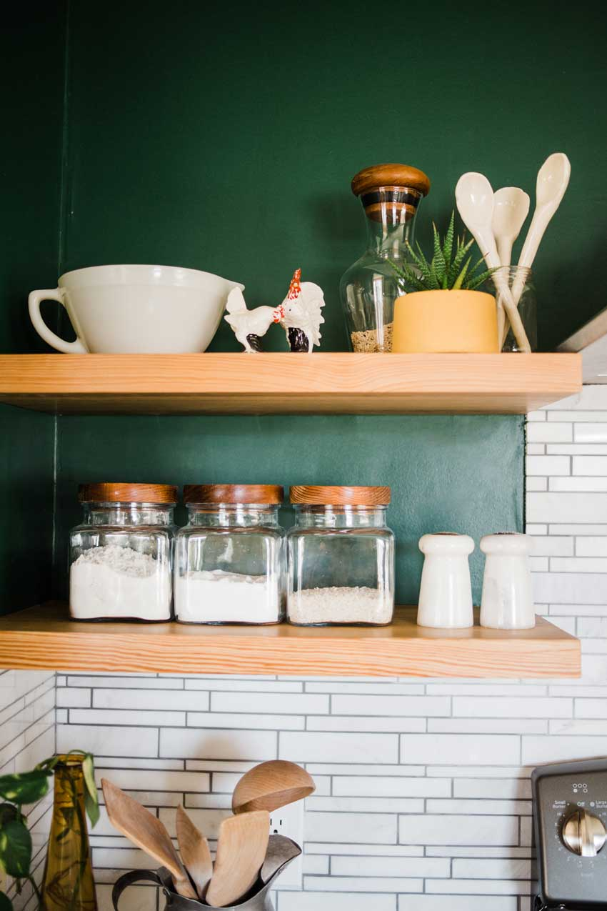 Shallow Shelving Allows For Frequent Use Without Taking Up Extra Visual Space In This Kitchen Remodel On Design*Sponge