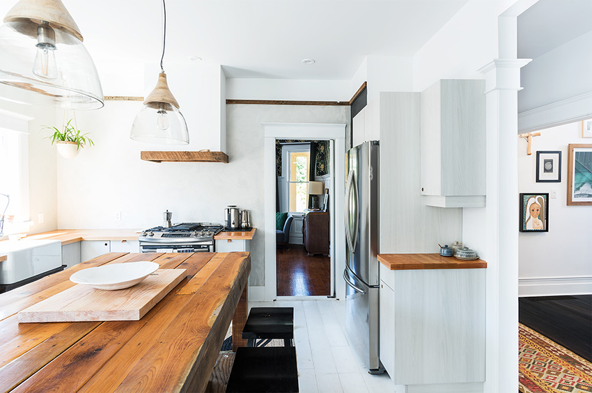 Hand Hewn Countertops And Kitchen Island In This Vancouver BC Home On Design*Sponge
