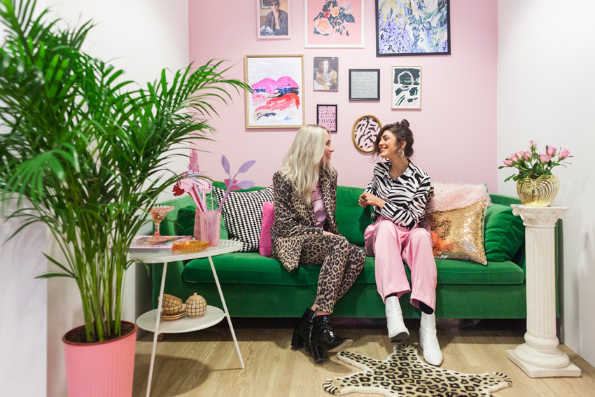 The Designers Of French Toast Studio Enjoying The Colorful Nook Of Their Studio On Design*SPonge
