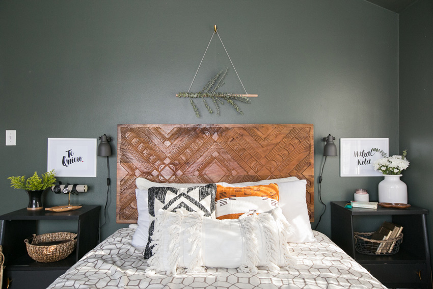 A Headboard Made By The Homeowner's Father In The Master Bedroom Tour On Design*Sponge