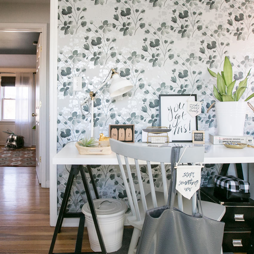 The Office In This Lovely Chicago Home Uses The Same Wallpaper As The Powder Room To Be Budget-Savvy Full Tour On Design*Sponge