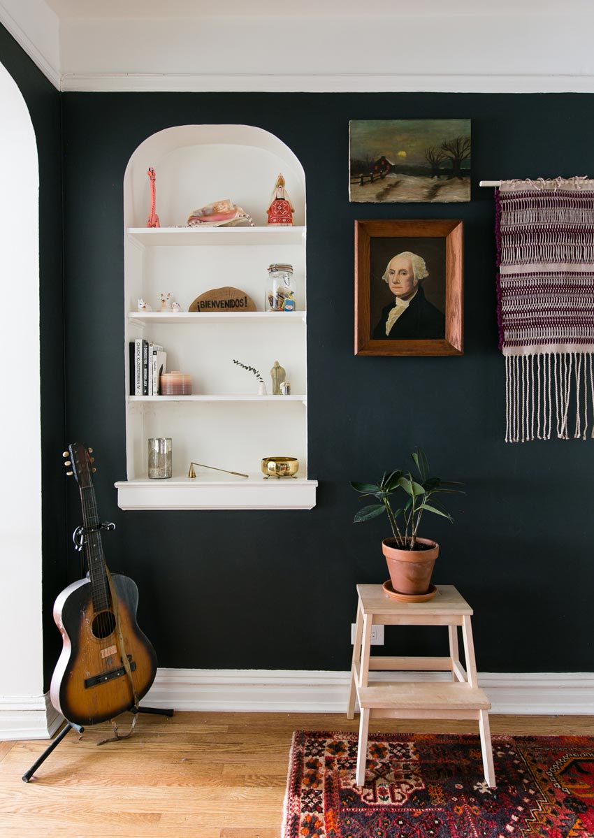 The Foyer Features Beautiful Built-Ins And Bold Color Tour On Design*Sponge