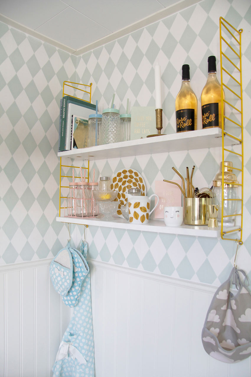 A Kitchen Shelf And Bar-In-One In Sweden Home Tour On Design*Sponge