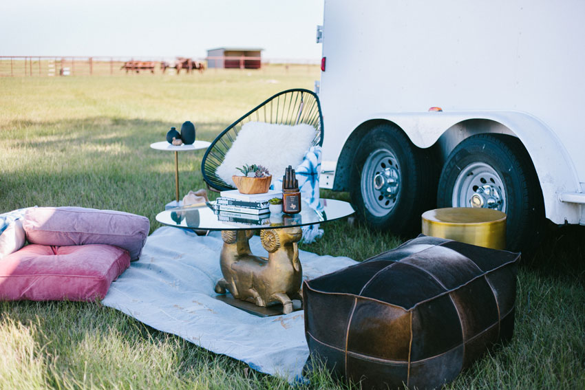 Lounge Set Up Outside Of The Transformed Horse Trailer On Design*Sponge