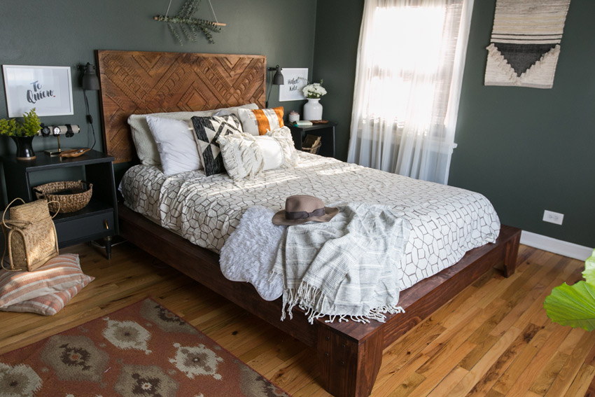 A Handmade Bed From The Homeowner's Father Shines In This Master Bedroom Home Tour On Design*Sponge