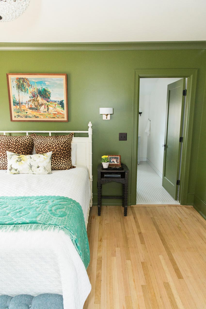 Master Bedroom With Deep Green Walls Home Tour On Design*Sponge