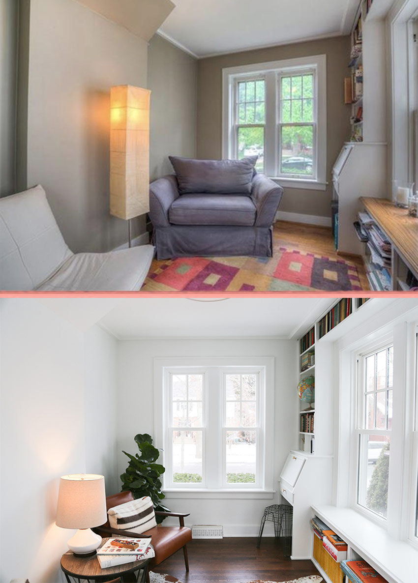 The Before And After Of The Home Library In This 1926 Home Is Full Of Charm On Design*Sponge