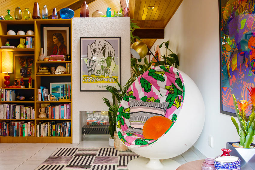 A Built-In Bookshelf Displays Evie's Amazing Collections In Her New Zealand Home On Design*Sponge
