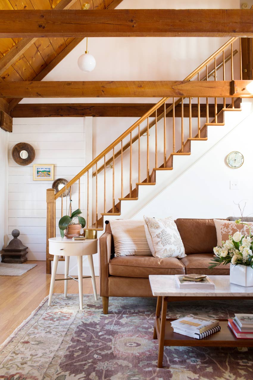 The Living Room In This Maine Home Tour Features Beautiful Lofted Ceilings Tour On Design*Sponge
