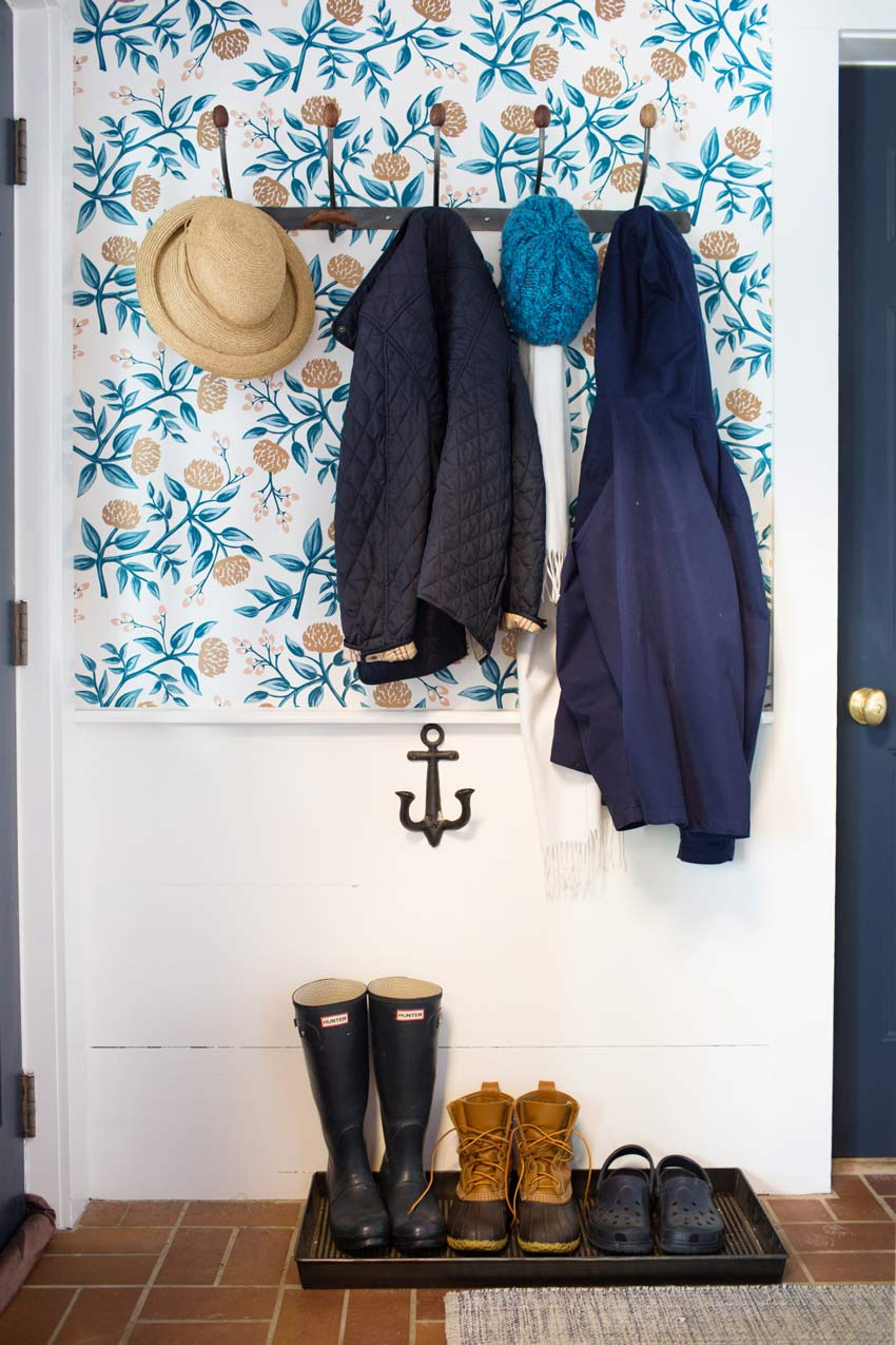 A Bitty Mudroom With Welcoming Wallpaper On Design*Sponge