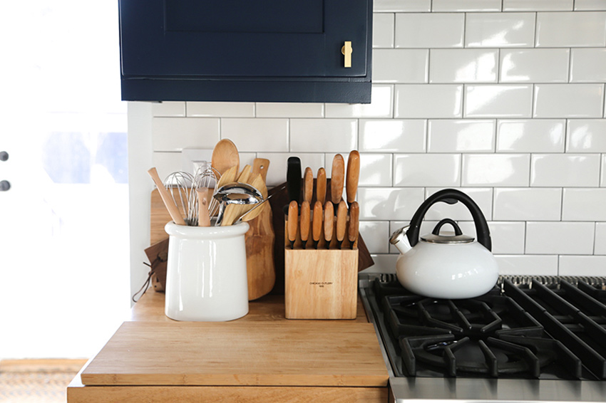 Commonly Used Items Are Stored Next To The Stove Before & After Feature On Design*Sponge
