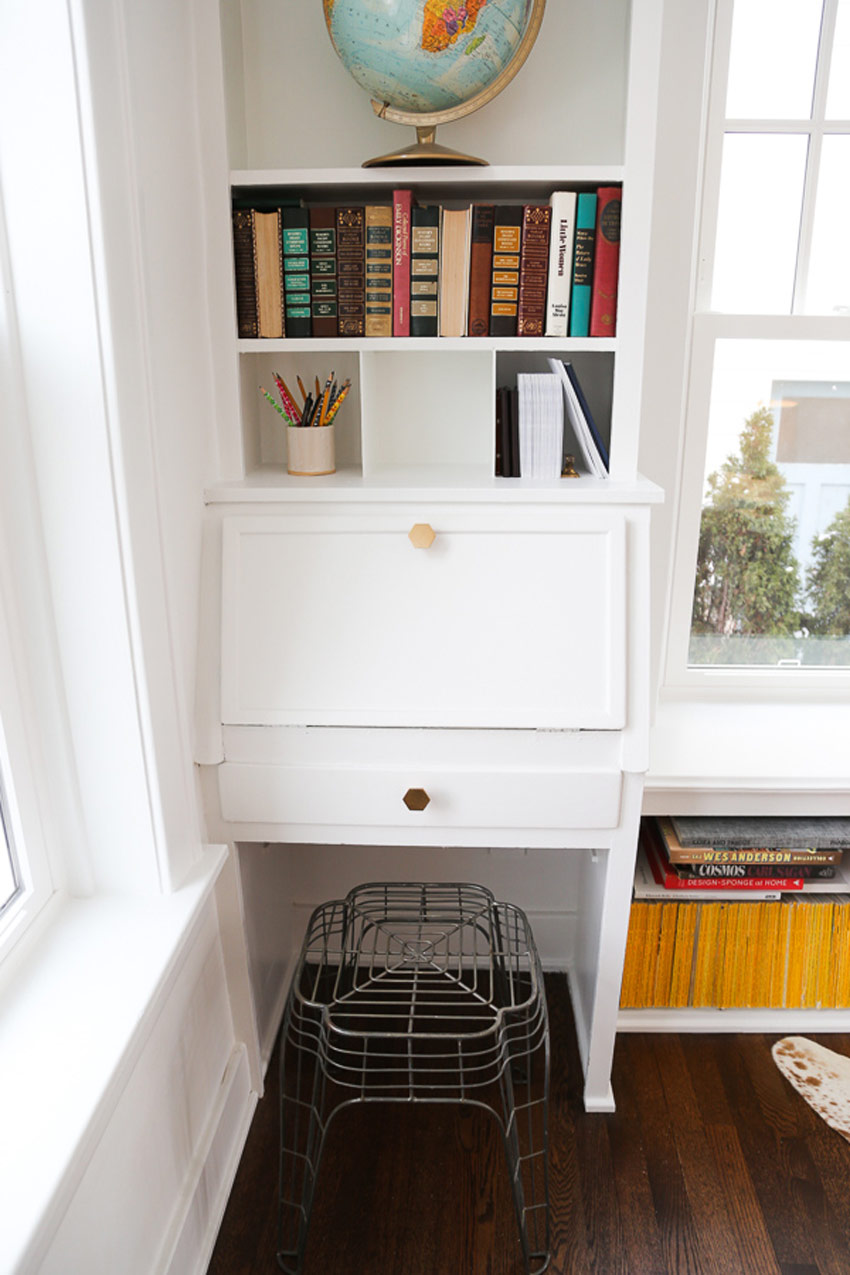 A Secretary Desk Is Tucked Into The Corner Of The Library On Design*Sponge