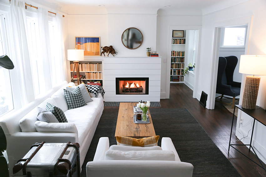 A Little Paint, Plaster, And Resurfacing Of The Fireplace Brought This Living Room Into 2018 Before & After Tour On Design*Sponge