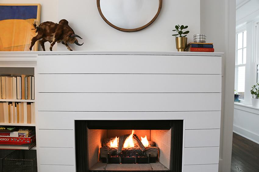 The Remodeled Fireplace Has A Shiplap Look While Still Being Fire Safe Tour On Design*Sponge