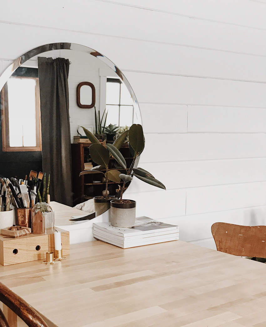 A Trick Of Small Space Living Is Using Mirrors To Create The Illusion Of More Space Tour The Little Vermont Cabin On Design*Sponge