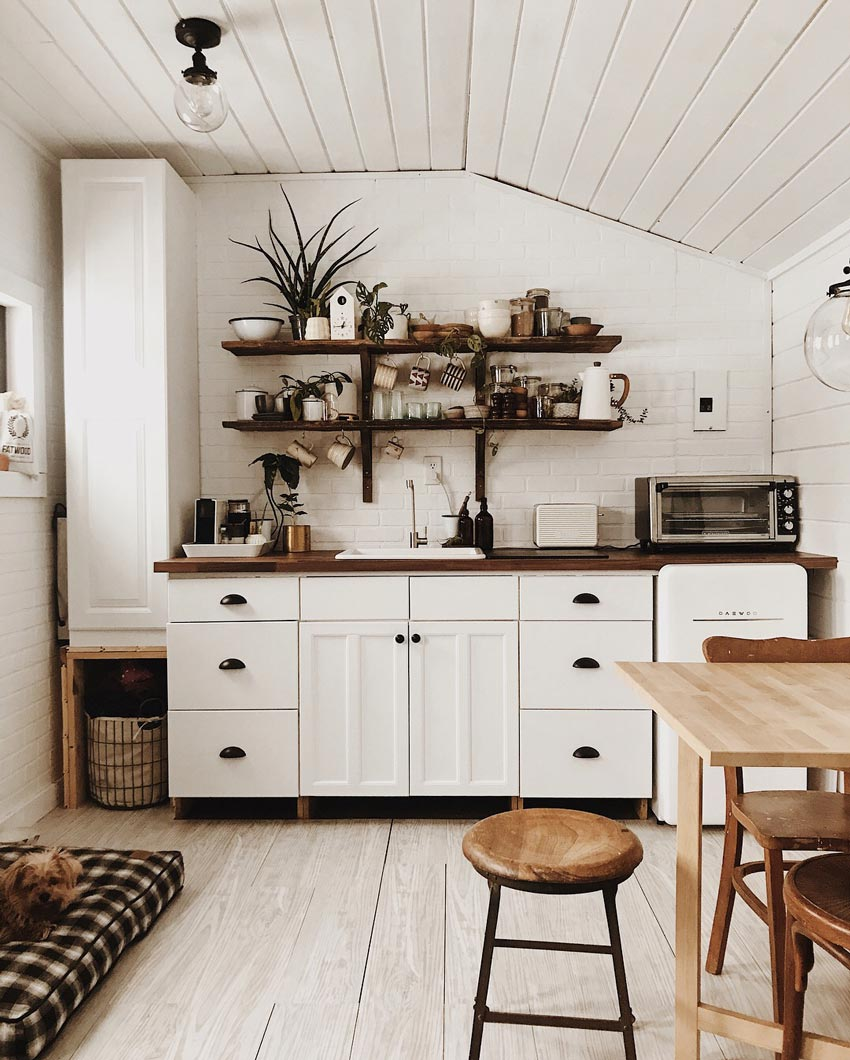 Sugarhouse Homestead's Winter Cabin Features A Decently Sized Kitchen For Such A Small Space Tour On Design*Sponge