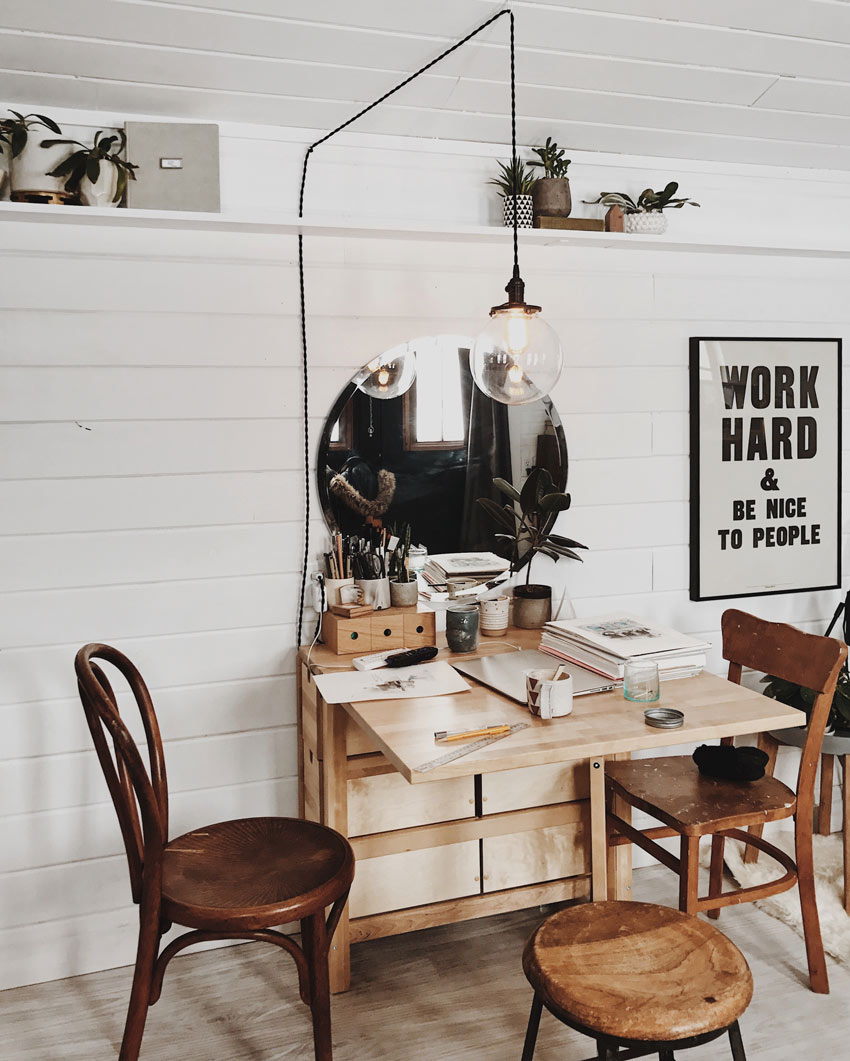 Natasha's Workstation In Her Home That's Under 200 Square Feet Tour On Design*Sponge